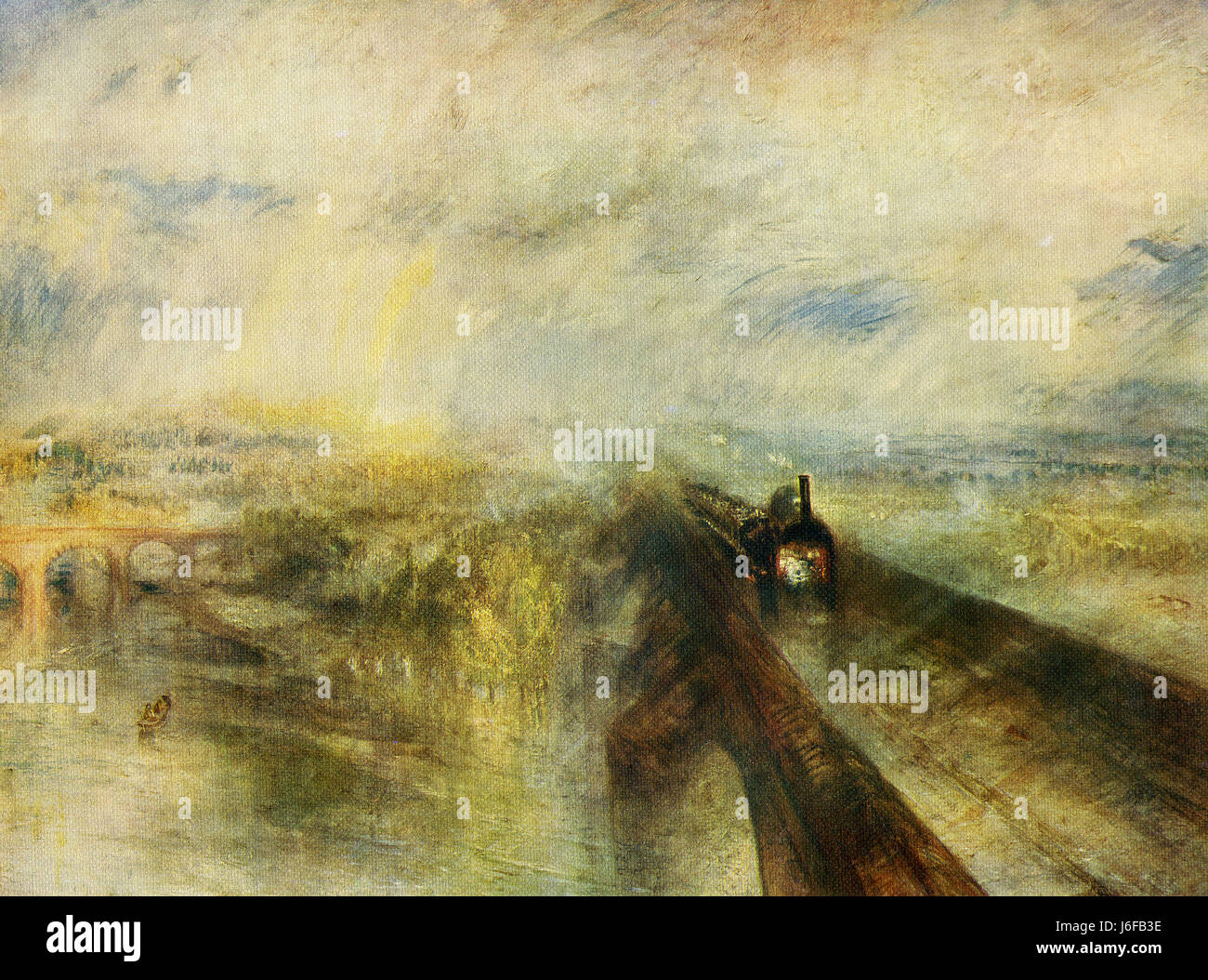 This painting, titled Rain, Steam and Speed, the Great Western Railway, was done by the English Romanticist landscape - Stock Image