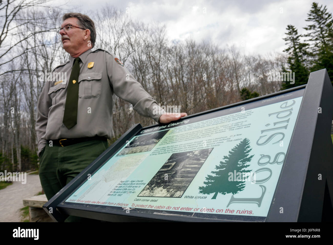 Michigan Upper Peninsula U.P. UP Lake Superior Pictured Rocks National Lakeshore Log Slide National Park Service - Stock Image