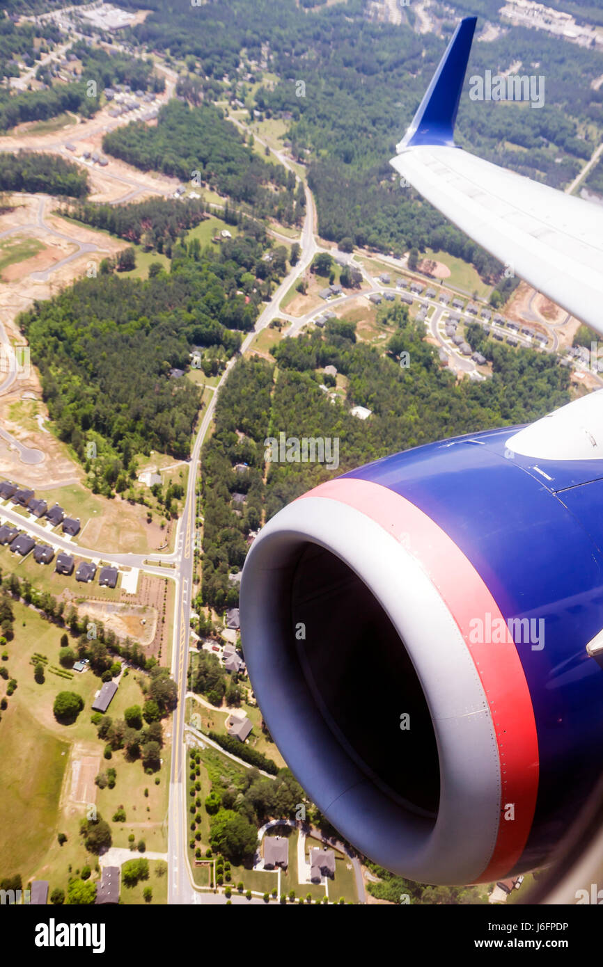 Atlanta Georgia Hartsfield-Jackson Atlanta International Airport Delta Airlines Air Lines jet engine wing aerial - Stock Image