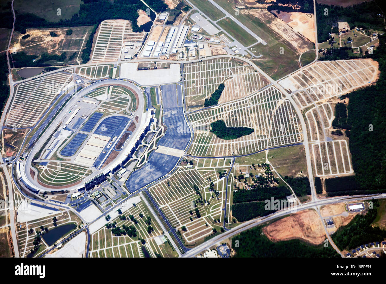 Atlanta Georgia aerial photo Atlanta Motor Speedway parking lot race course - Stock Image