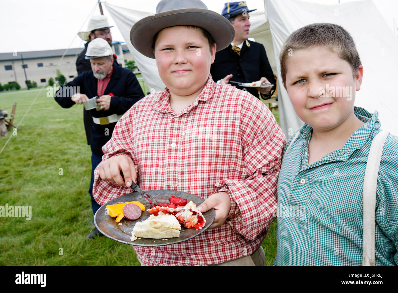Wisconsin Kenosha Civil War Museum Civil War Days muster Park City Grays living history education reenactor boy - Stock Image