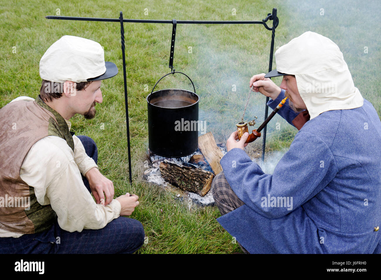Wisconsin Kenosha Civil War Museum Civil War Days muster Park City Grays man men reenactor militia camp living history - Stock Image