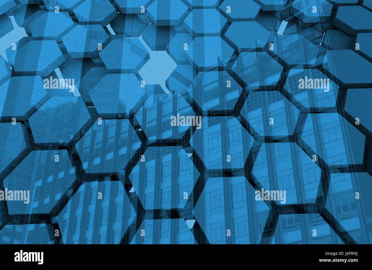 Blockchain Distributed ledger technology , Blue Hexagon six-sided polygon symbol on background , cryptocurrencies - Stock Image