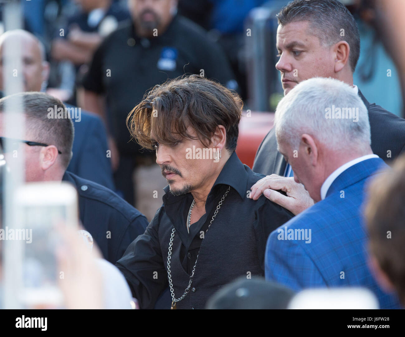 Actor Johnny Depp attends the premiere of Disney's 'Pirates Of The Caribbean: Dead Men Tell No Tales' - Stock Image