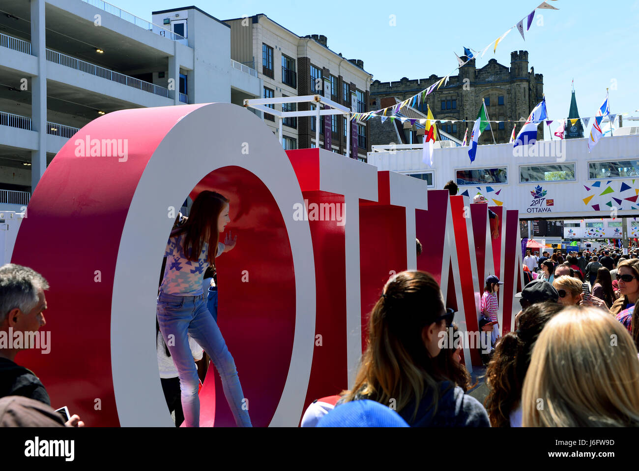 Ottawa, Canada - May 20, 2017: Inspiration Village, a temporary attraction built to help celebrate Canada's - Stock Image