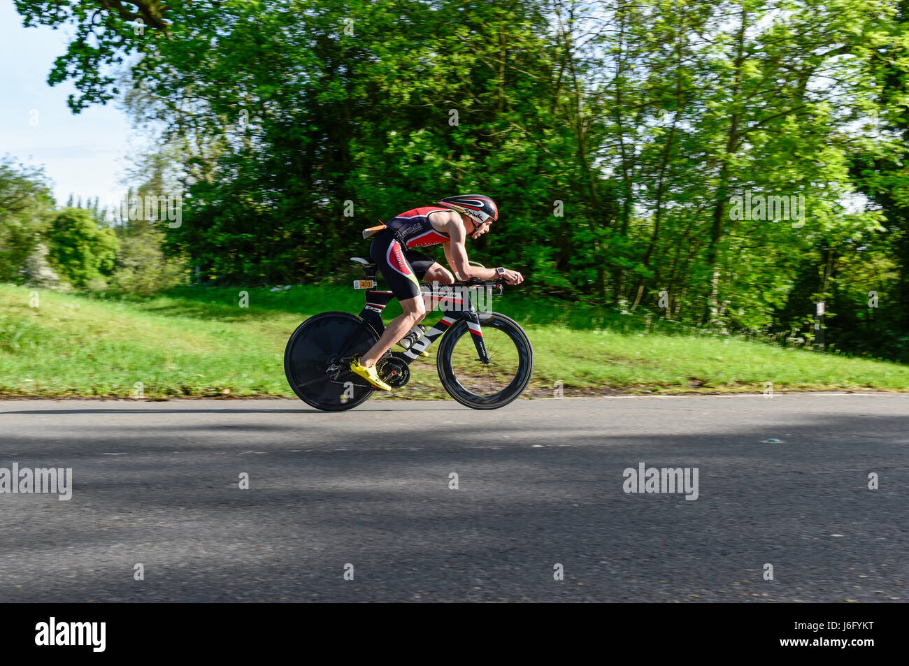 Southwell, UK. 21st May, 2017. Cyclists taking part in the Outlaw half.The event consists of a 1.2m swim, 56m bike, - Stock Image