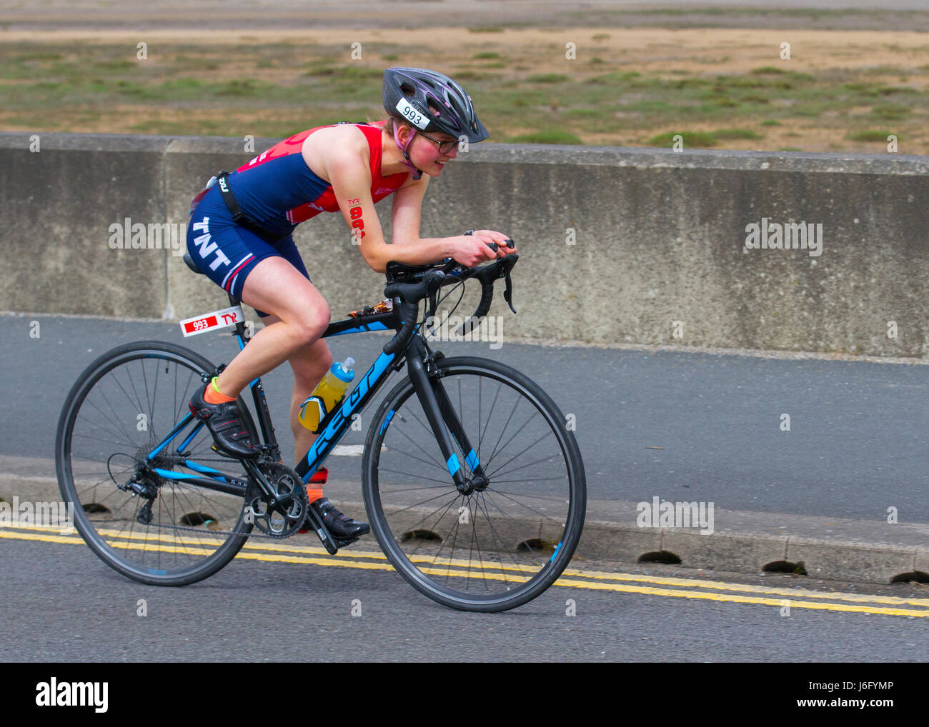 Southport, Merseyside, UK.  1500 competitors take part in the gruelling British Triathlon Major event in the resort - Stock Image