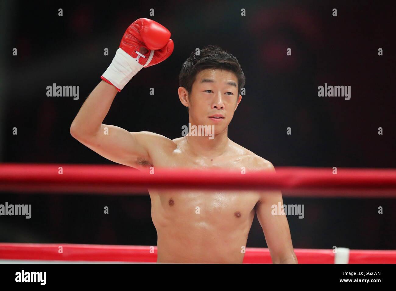 Ariake Coliseum, Tokyo, Japan. 21st May, 2017. Satoshi Shimizu (JPN), MAY 21, 2017 - Boxing : 8R featherweight bout Stock Photo