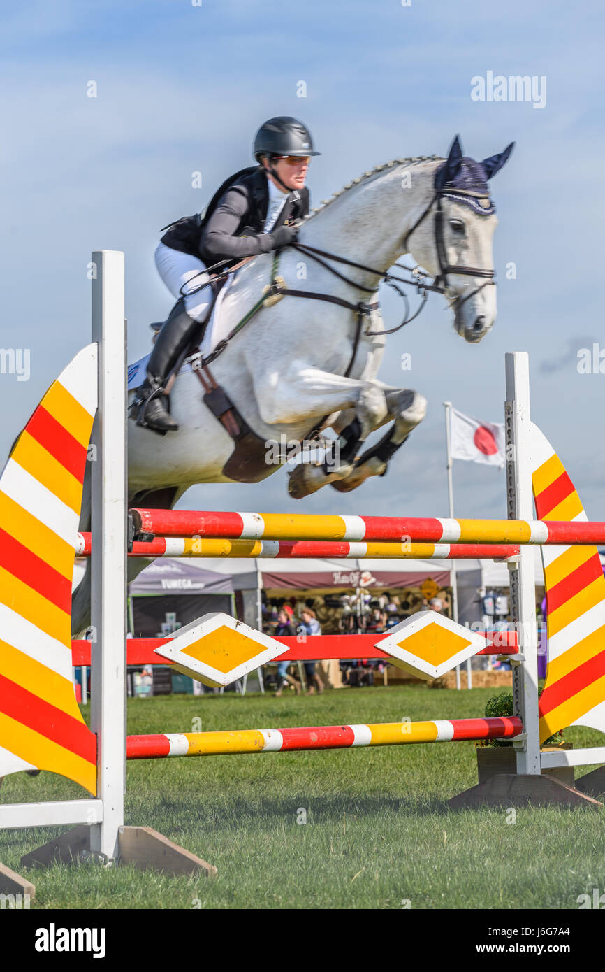 Rockingham Castle, Corby, UK. 21st May, 2017. The New Zealand rider Caroline Powell and her horse Up Up And Away Stock Photo