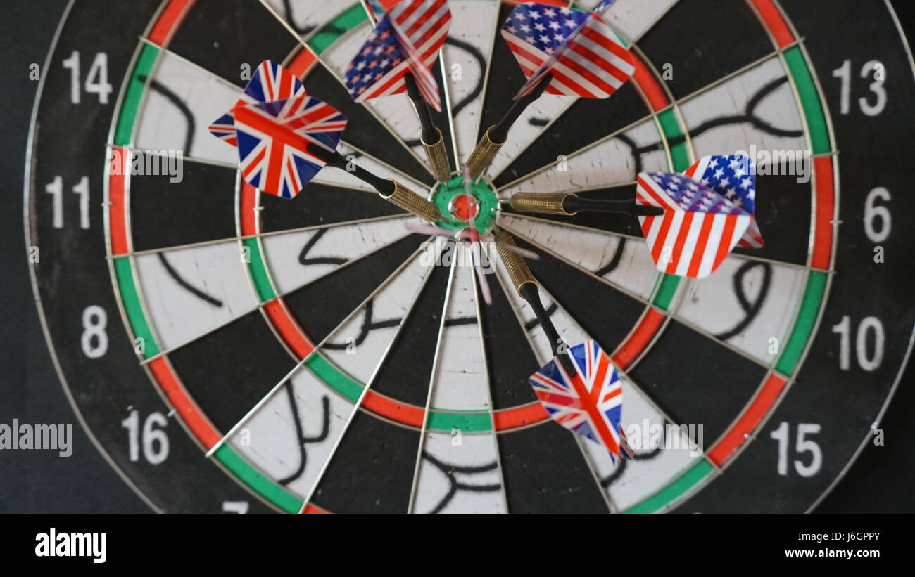 Business concept of darts. The target hanged on the wall Stock Photo