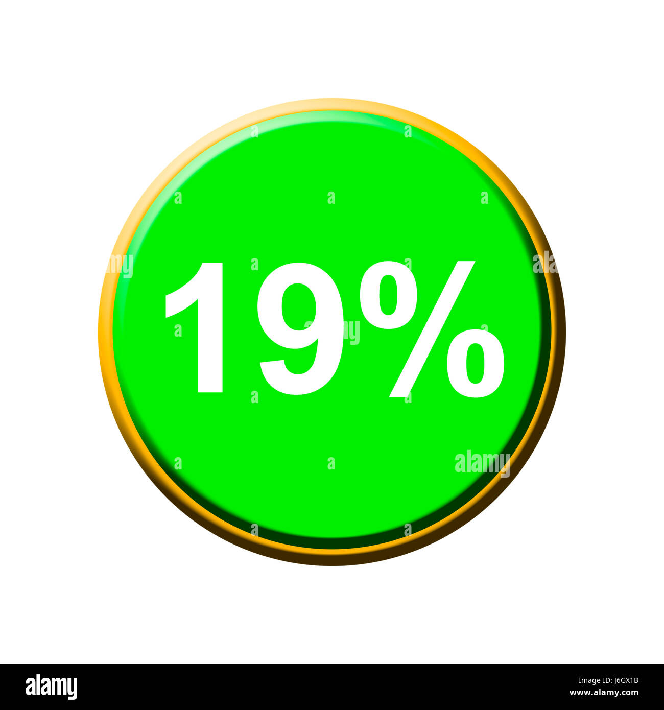 percent vat nineteen rate of taxes discount optional symbolic graphic - Stock Image