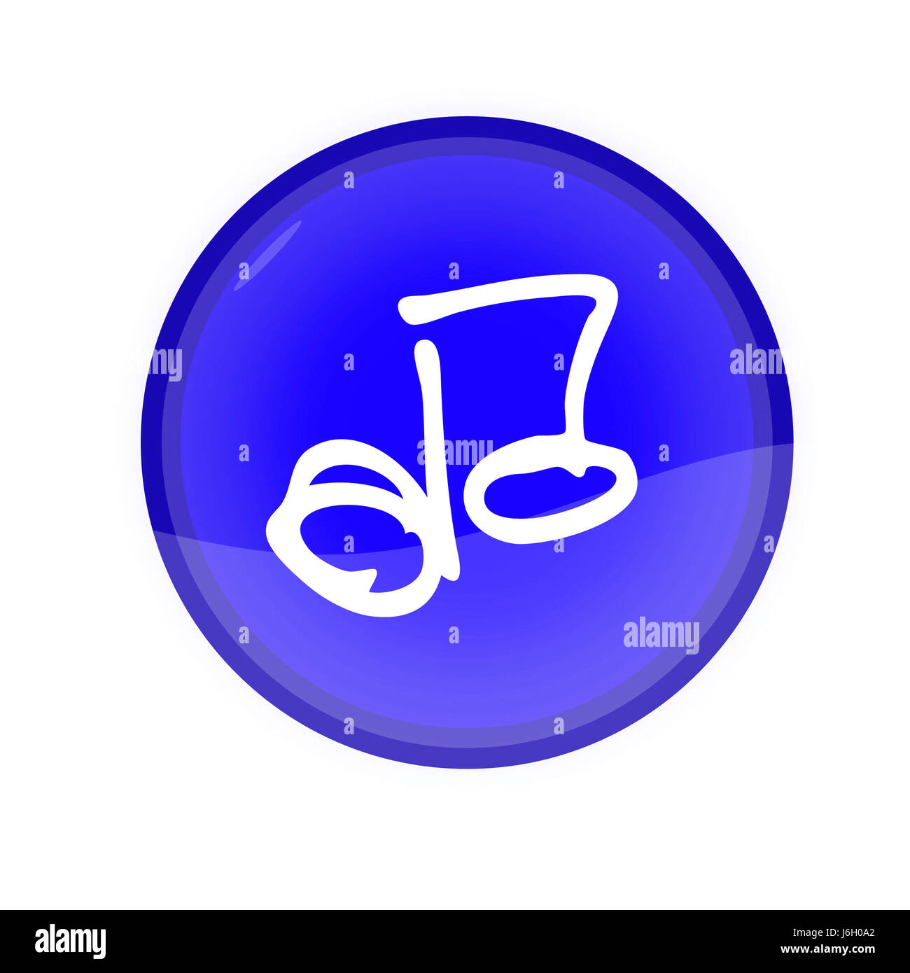 music sound isolated note blue music sound navigation note circle button - Stock Image