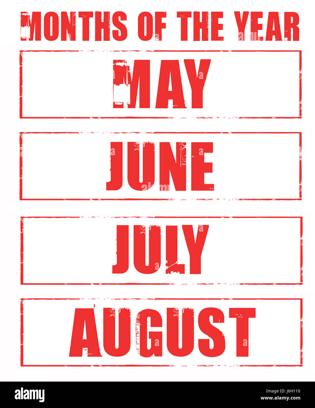May june july august month months stamps rubber years year isolated - Stock Image