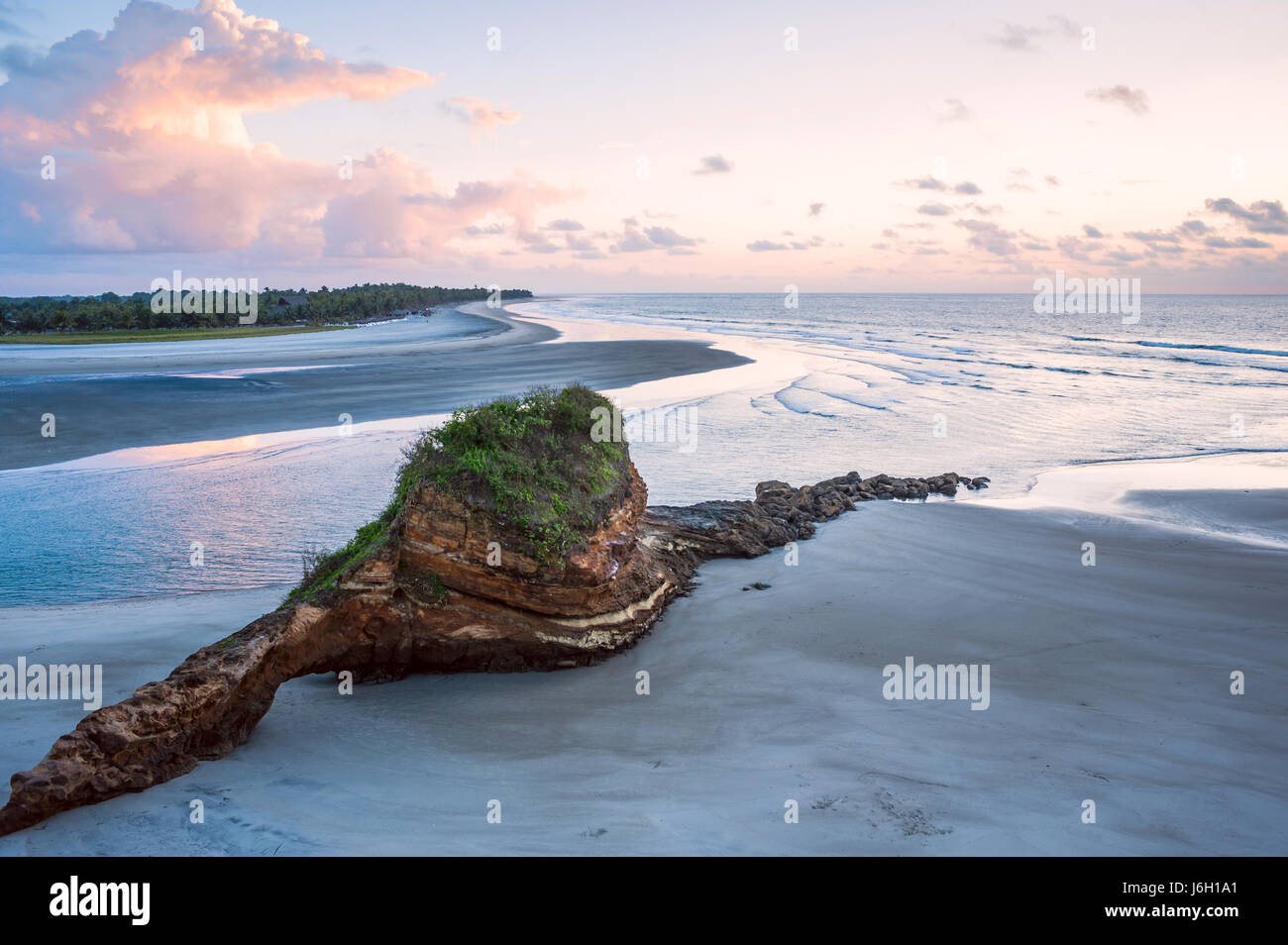 Small charming fishing village of Mompiche, Ecuadorian Pacific coastline - Stock Image