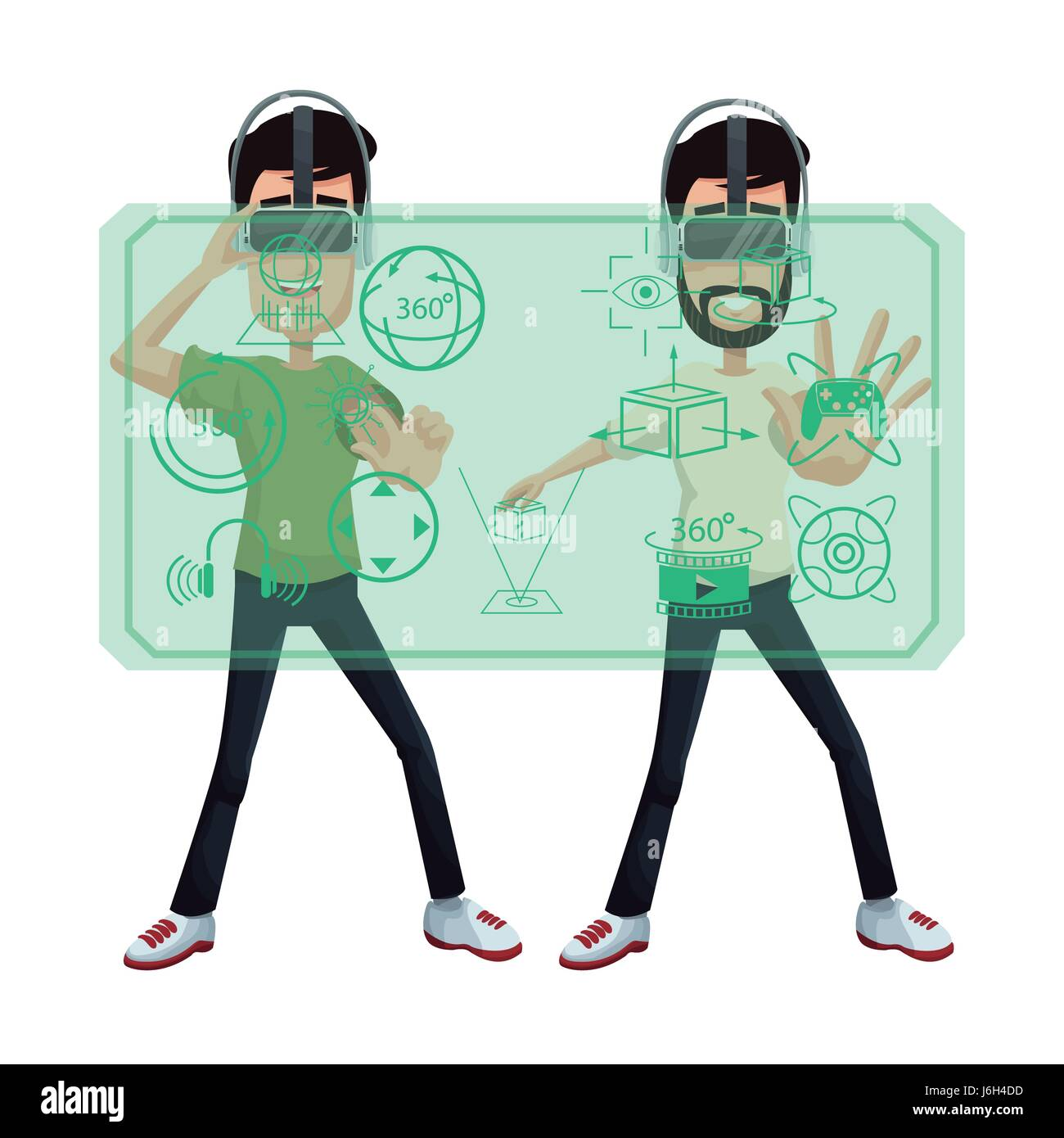 two guy using virtual reality headset 3d world digital - Stock Vector