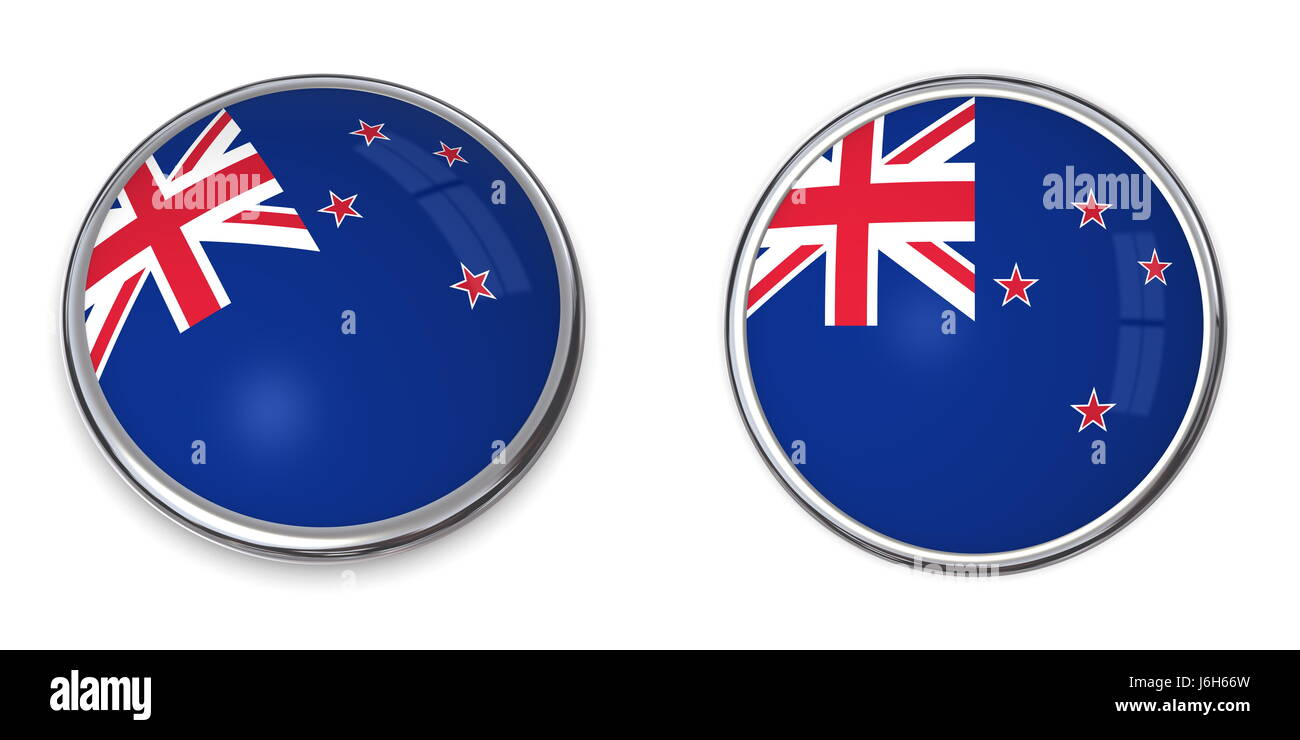 new flag button banner zealand pin sticker stickers blue travel isolated - Stock Image