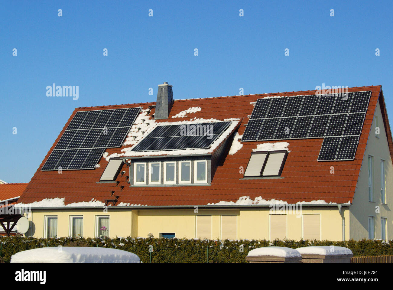 House building cell solar solar cell rooftop house building winter modern