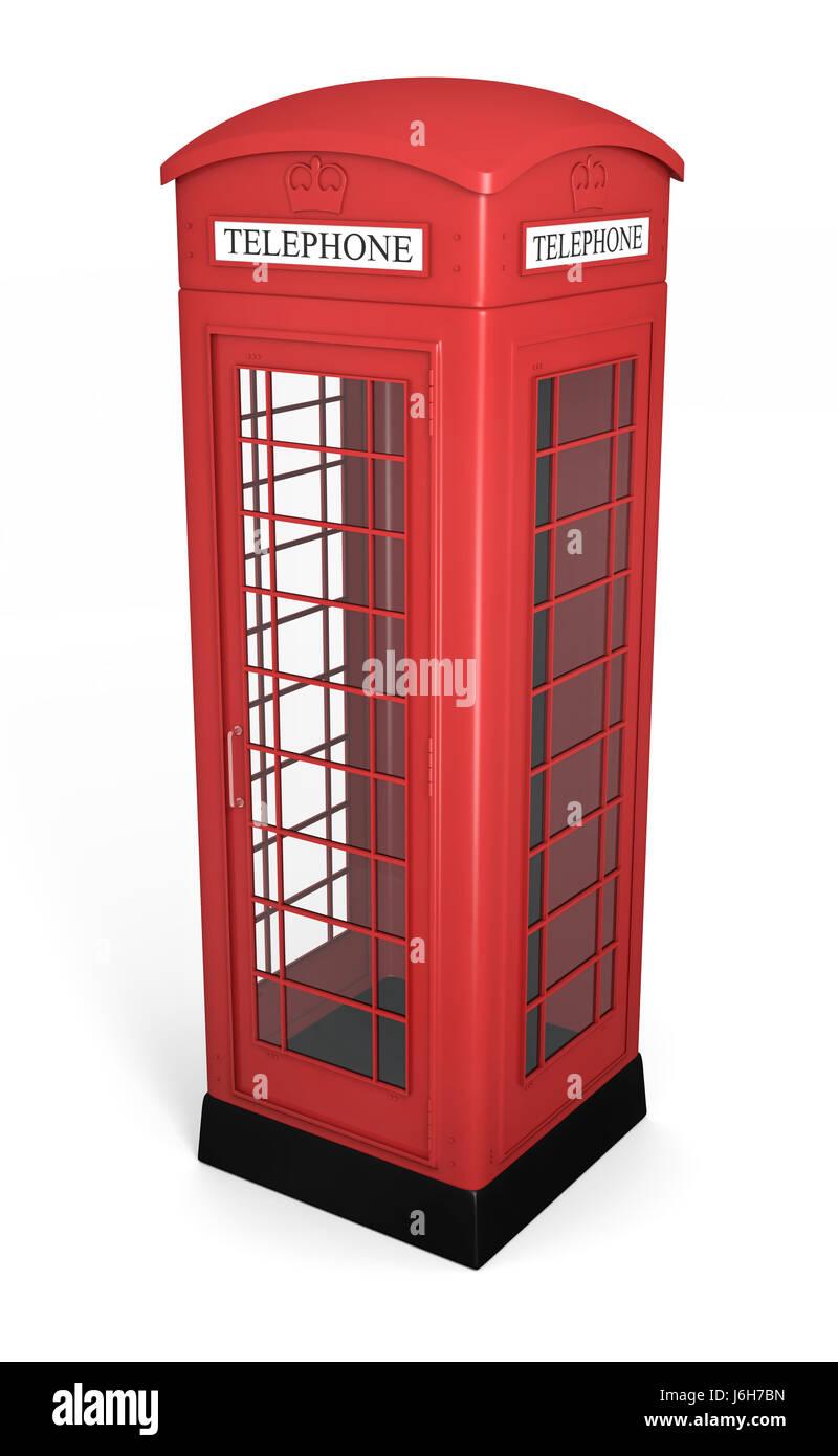 telephone phone england booth traditional british english red telephone box - Stock Image