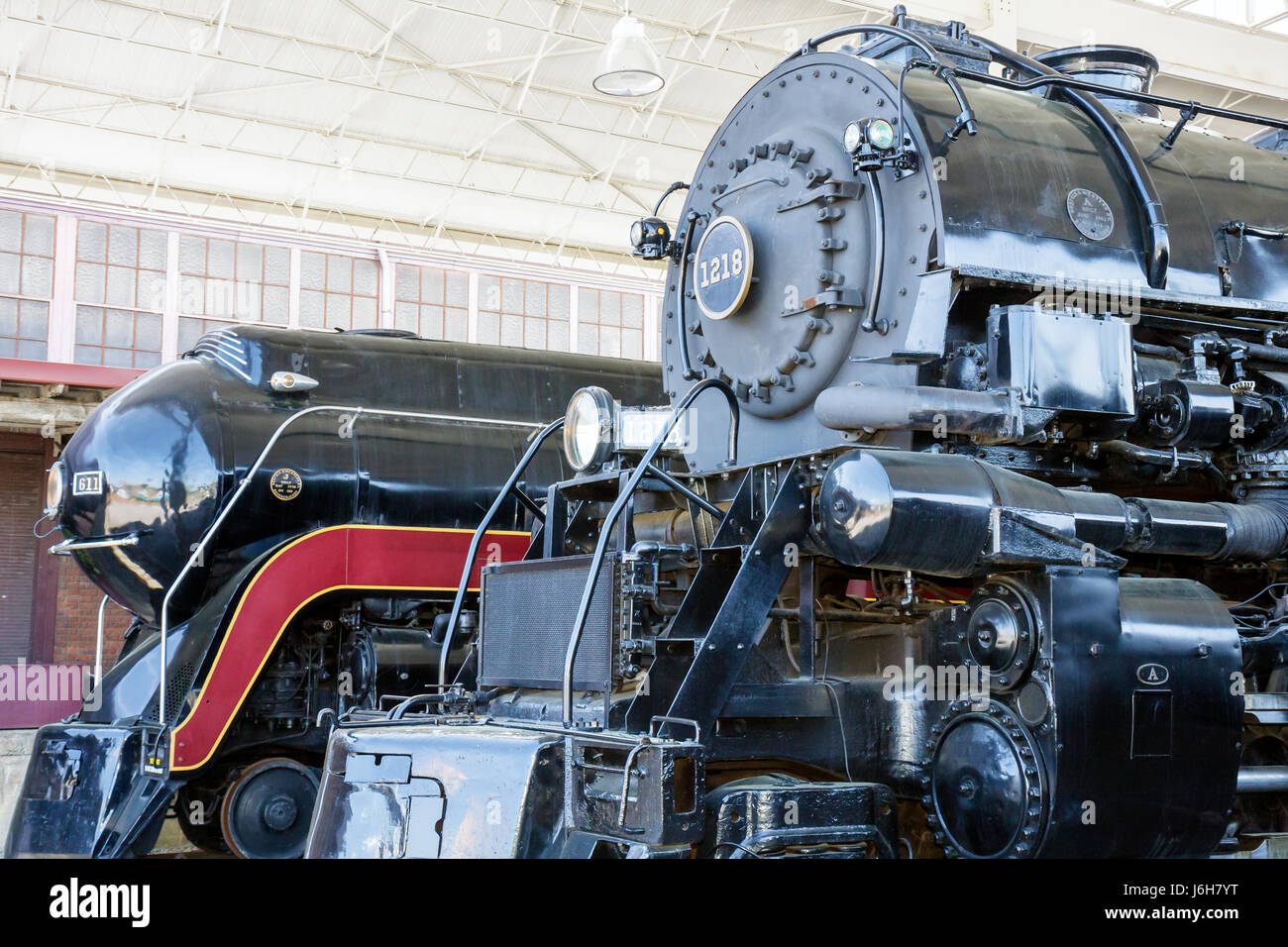 Virginia Roanoke Virginia Museum of Transportation Railyard Norfolk and  Western Class A 1218 steam locomotive Class J 611 train
