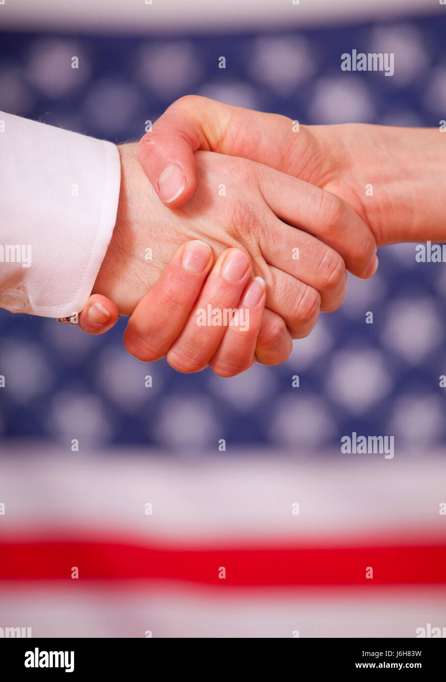 hand friendship american shake diplomacy success gesture hand friendship - Stock Image