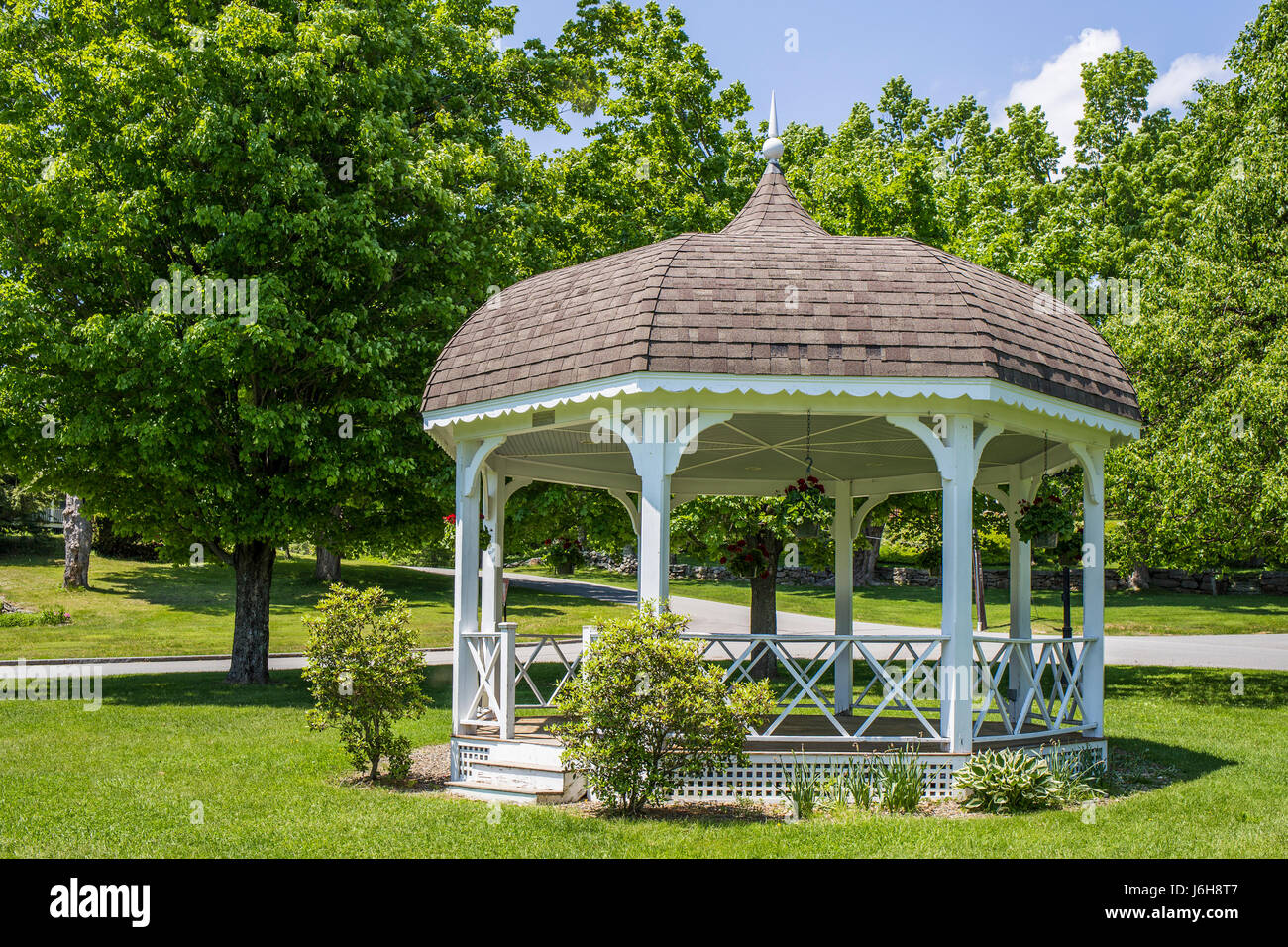 Bandstand in the center of Rindge, New Hampshire on the common - Stock Image