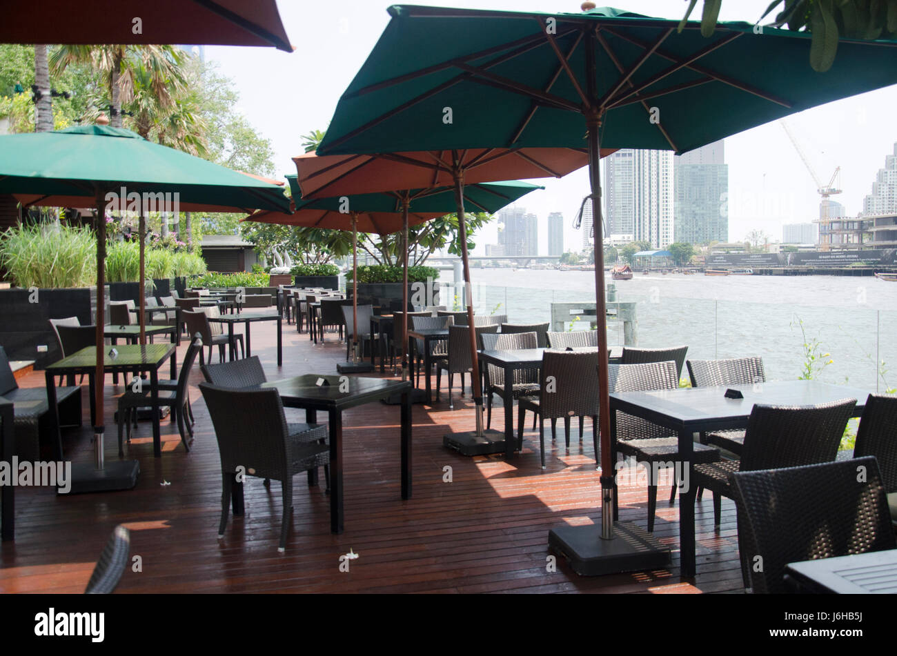 Decorative modern furniture of restaurant at outdoor and chao phraya riverside at hotel on february 30 2017 in bangkok thailand