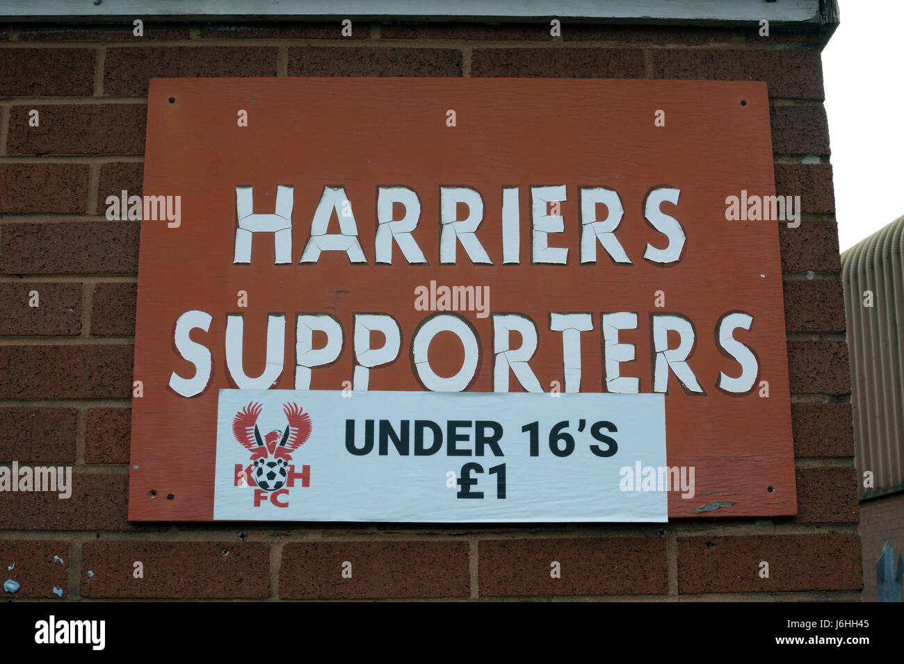 A sign at Kidderminster Harriers football ground, Worcestershire, England, UK Stock Photo