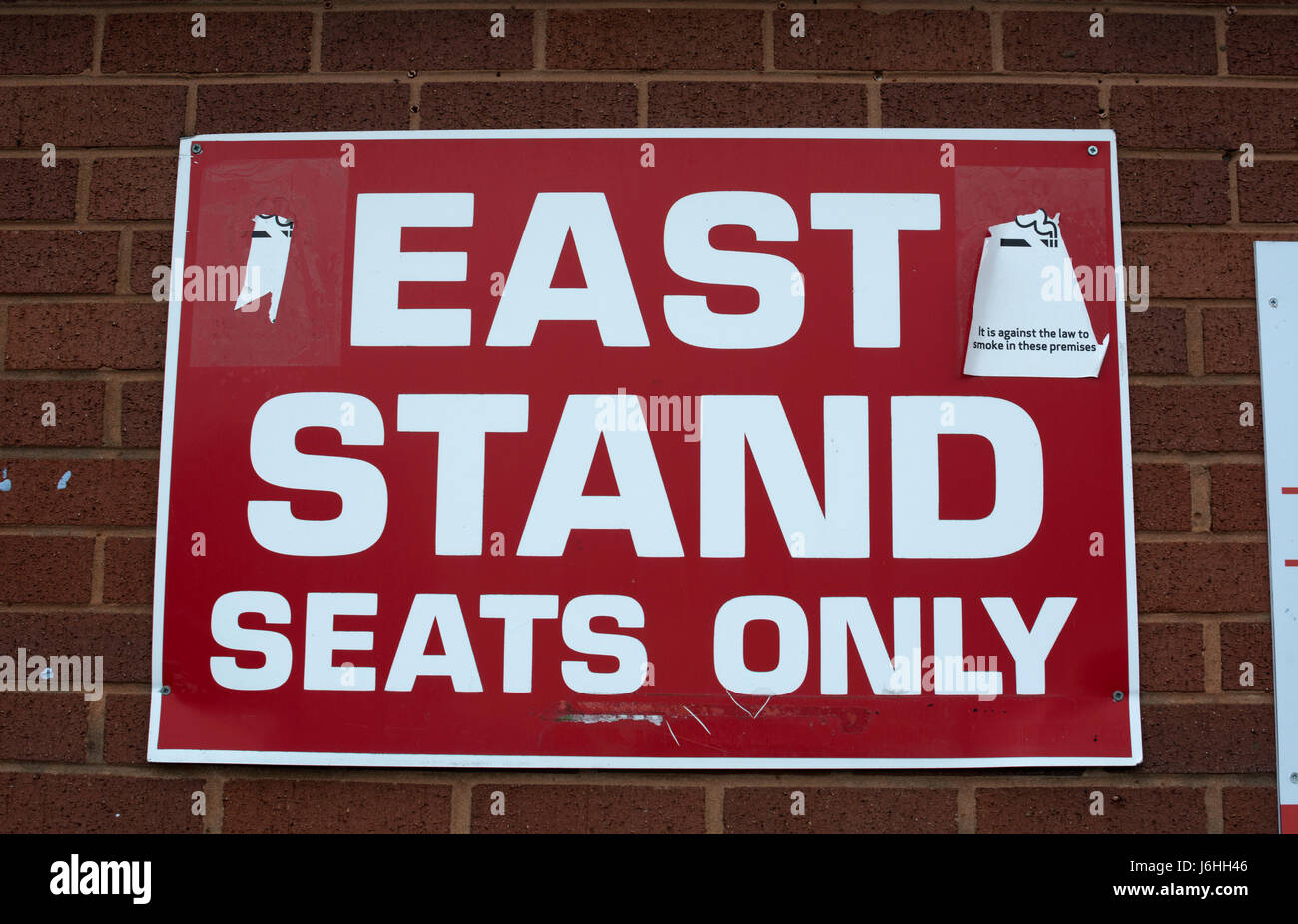 A sign at Kidderminster Harriers football ground, Worcestershire, England, UK - Stock Image