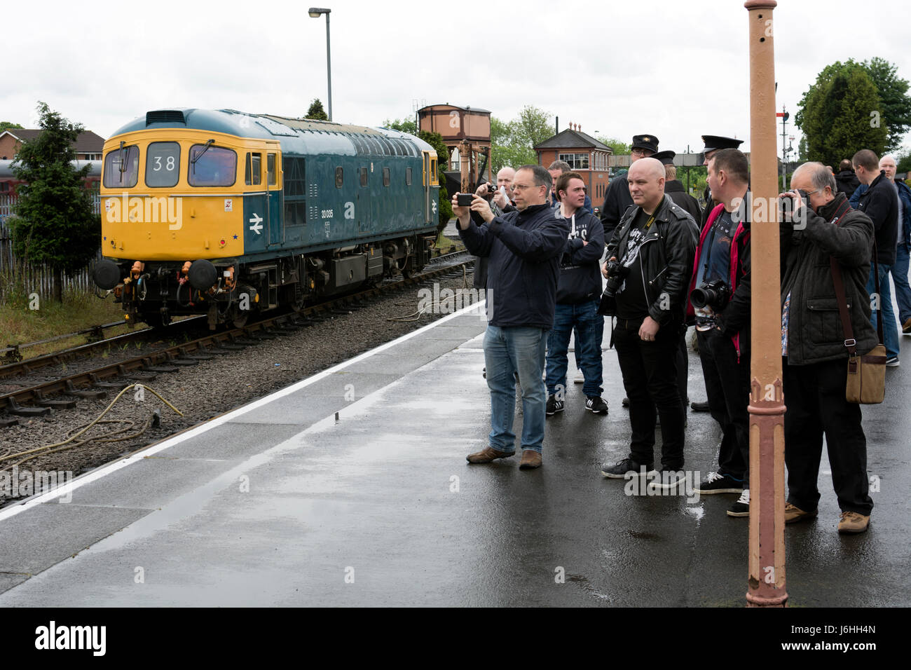 Rail enthusiasts at the Severn Valley Railway Spring Diesel Festival, Kidderminster, UK - Stock Image