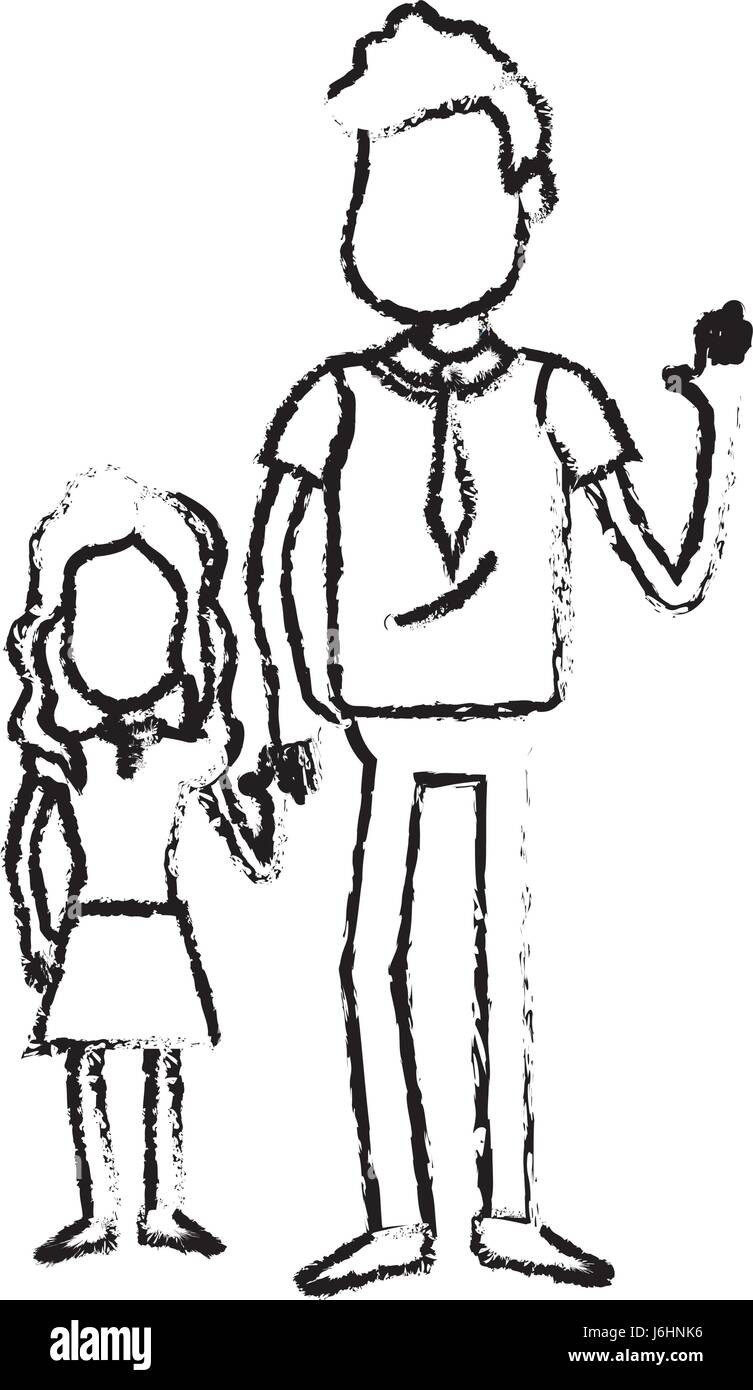 figure father with his daughter together and holding hands - Stock Image
