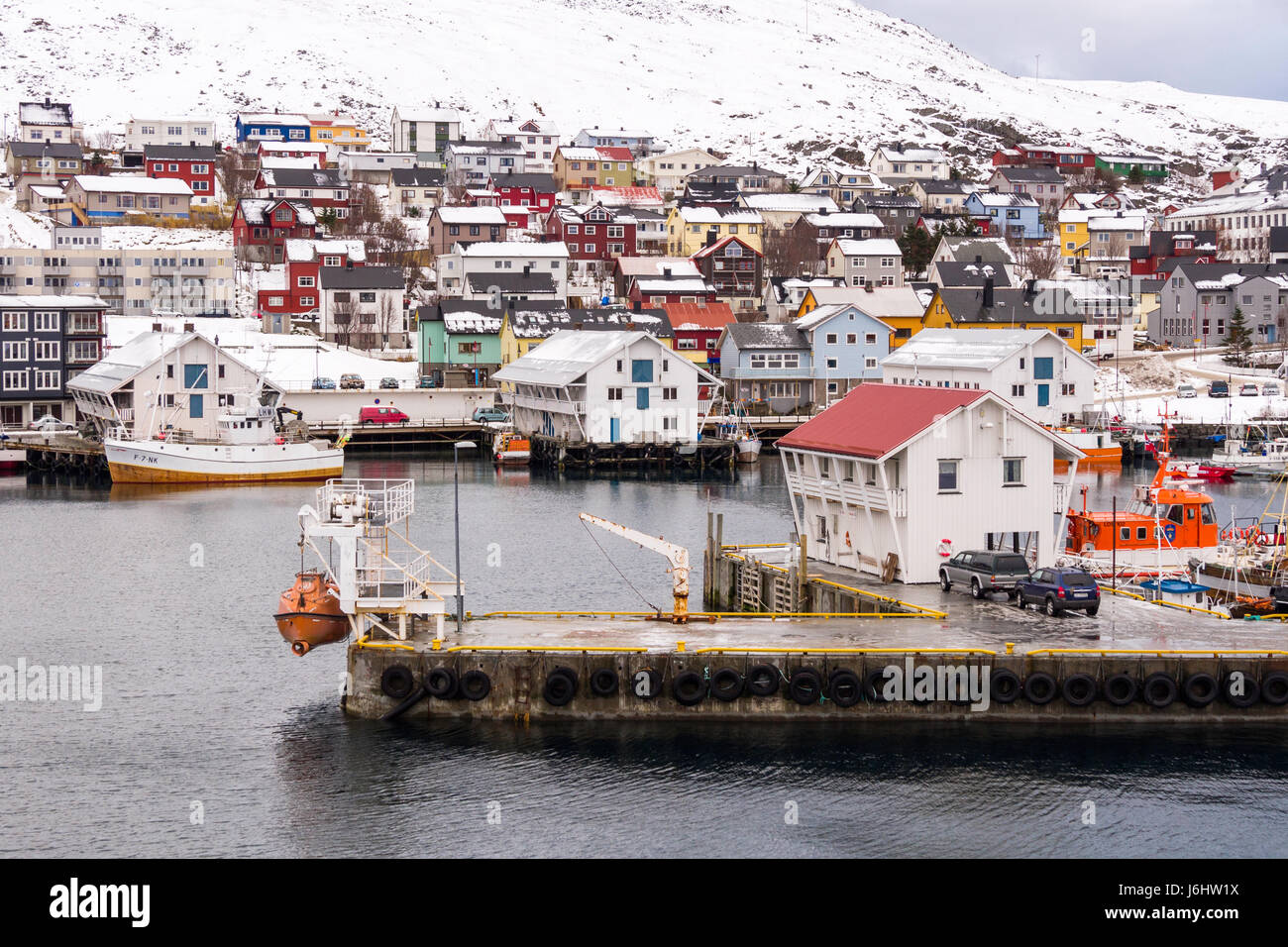 Fishing boats and unique dockside sheds at Honningsvåg, Finnmark County, Norway. - Stock Image