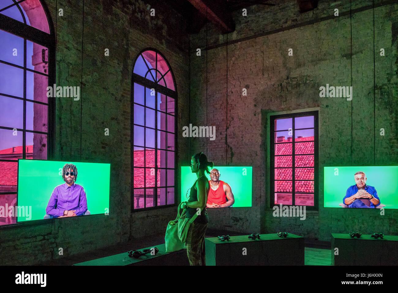 "Italy.57th Venice Biennale, La Biennale di Venezia 2017 Artist Candice Breitz artwork,'Love story"".Related by - Stock Image"
