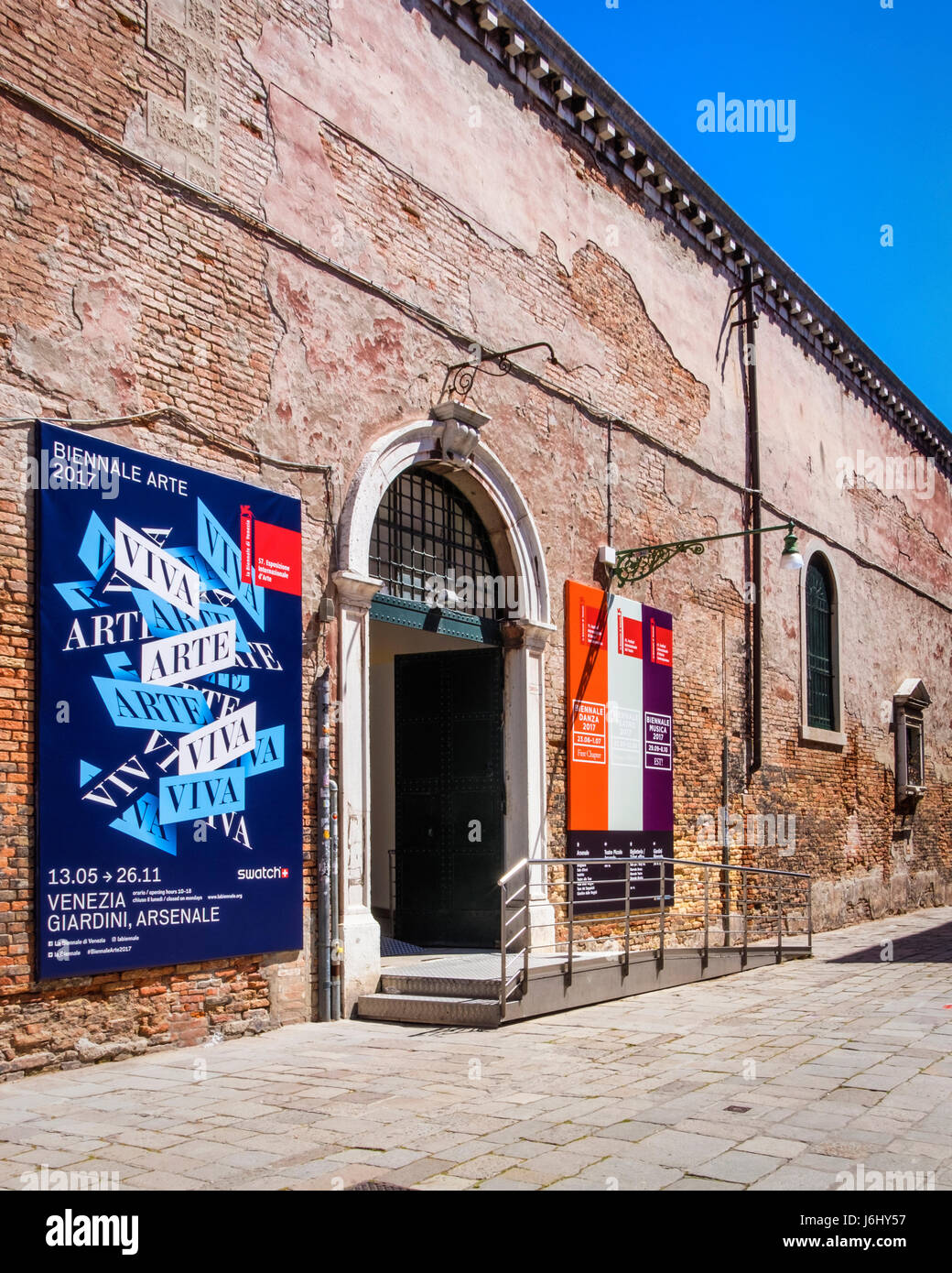 Venice,Castello,Arsenale. 57th Venice Biennale 2017,La Biennale di Venezia. Exhibition entrance - Stock Image