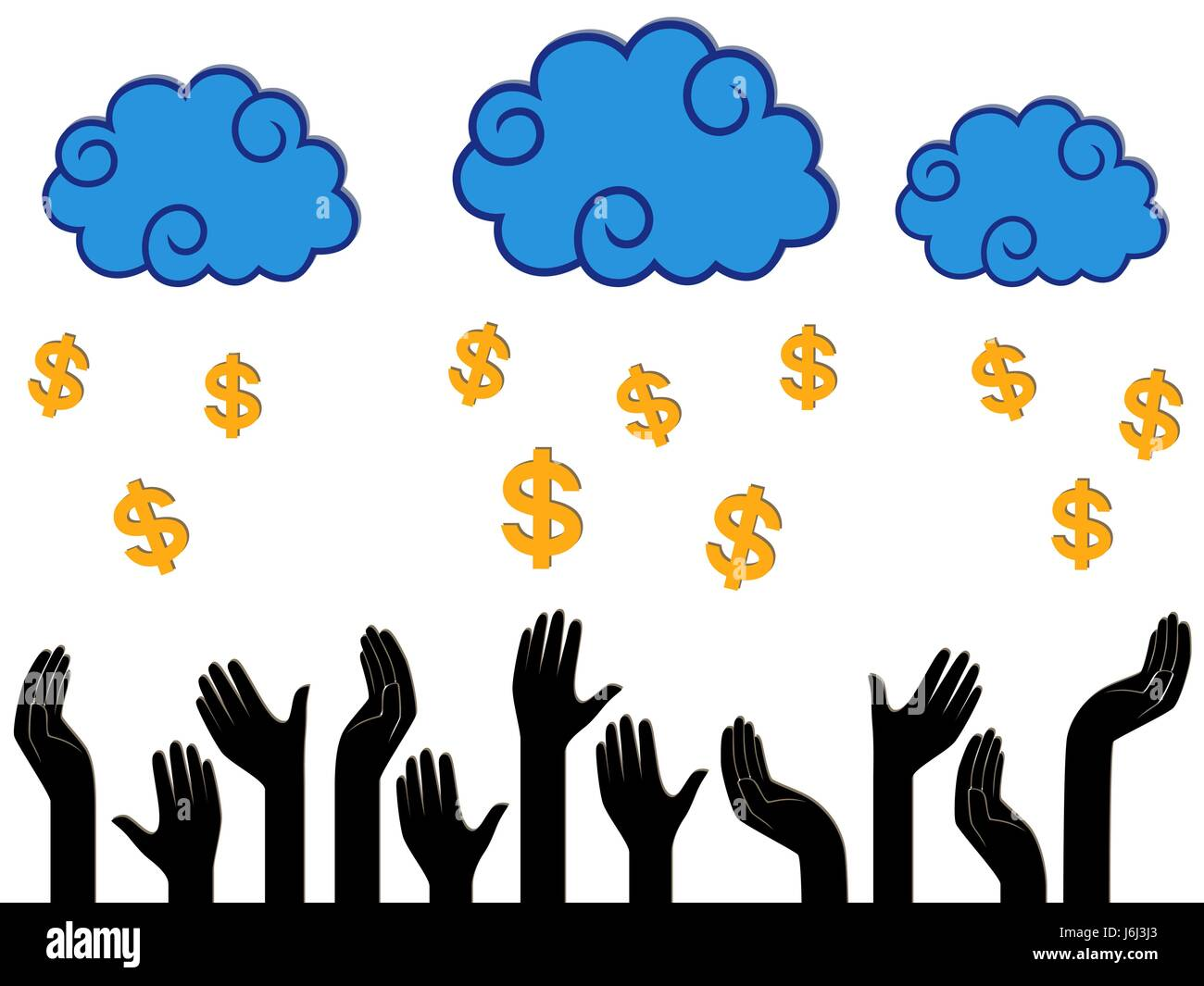 Dollar Money falling from the clouds in the human hands, stylised conceptual vector illustration - Stock Vector