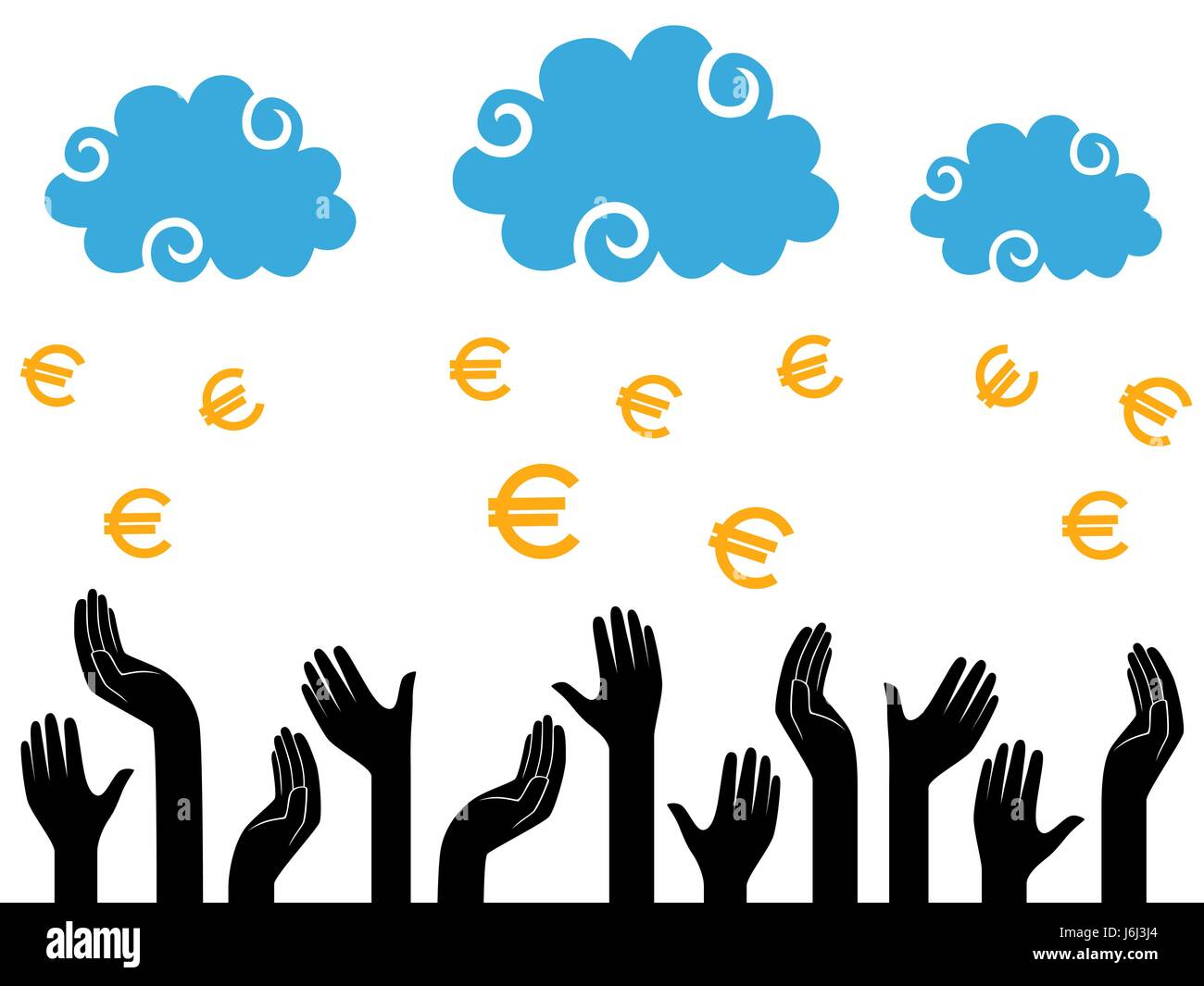 Euro Money falling from the clouds in the human hands, stylised conceptual vector illustration - Stock Vector