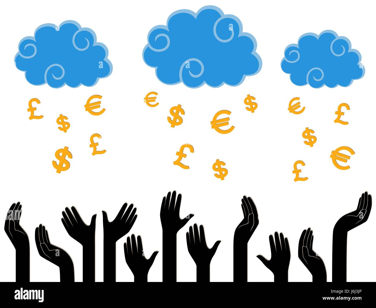 Dollars, Pounds and Euro falling from the Heaven in the human hands, stylised conceptual vector illustration - Stock Image