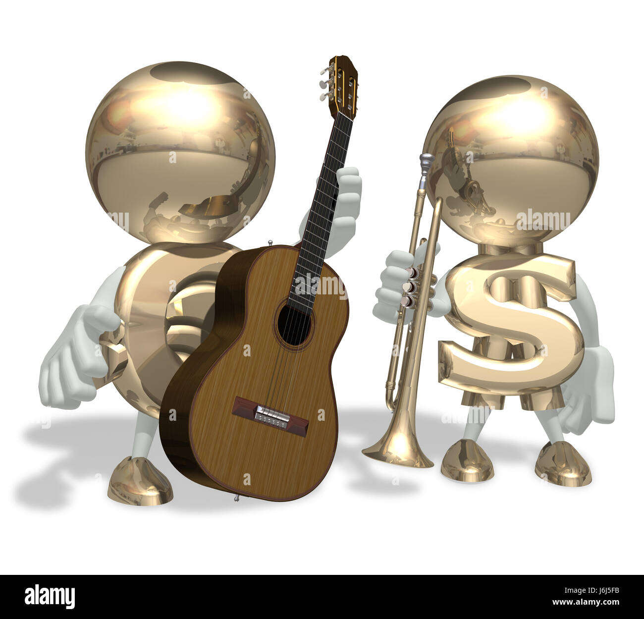 person euro character personage personality dollar dollars music isolated - Stock Image