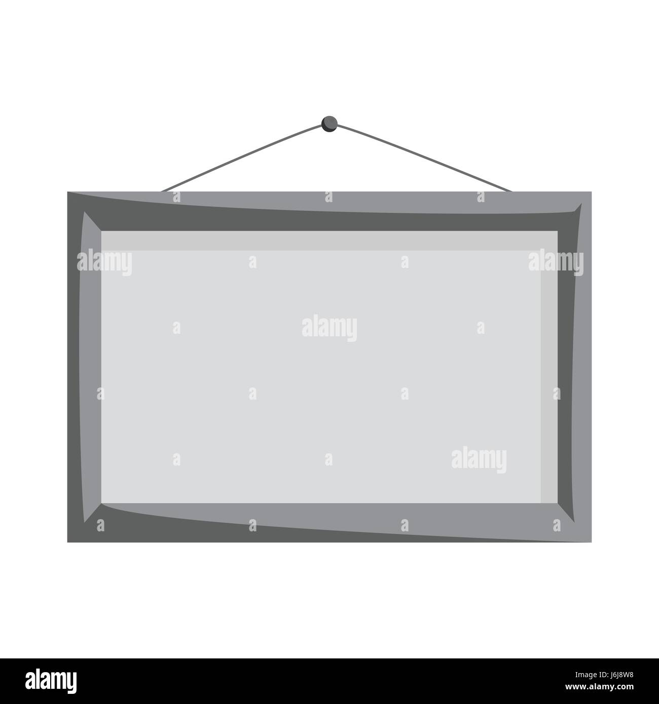 Wooden frame on the wall icon, monochrome style - Stock Image