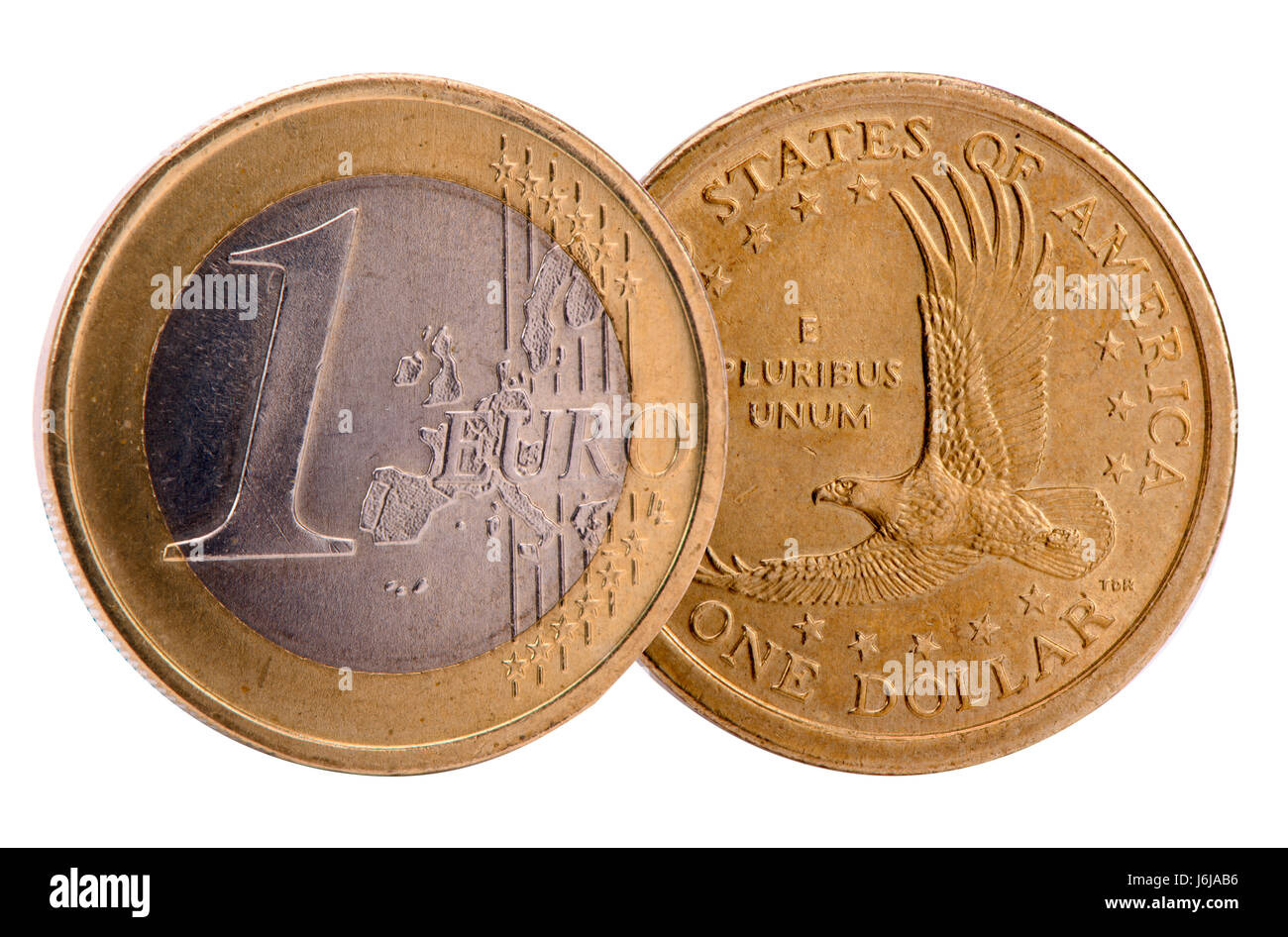 single and isolated coins of Dollar and Euro currencies - Stock Image