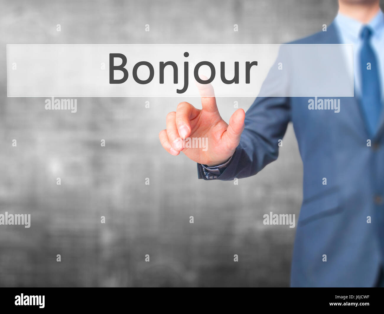 Bonjour Good Morning In French Businessman Hand Touch Button On