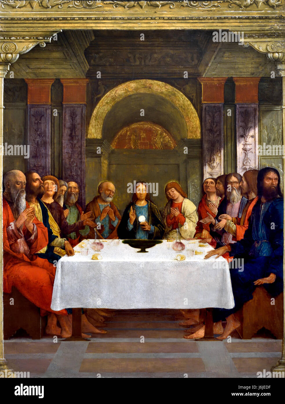 The Institution of the Eucharist 1490 Ercole de' Roberti active 1479 died  1496 Italy Italian ( Christ is shown at the Last Supper holding up the  Eucharistic ...