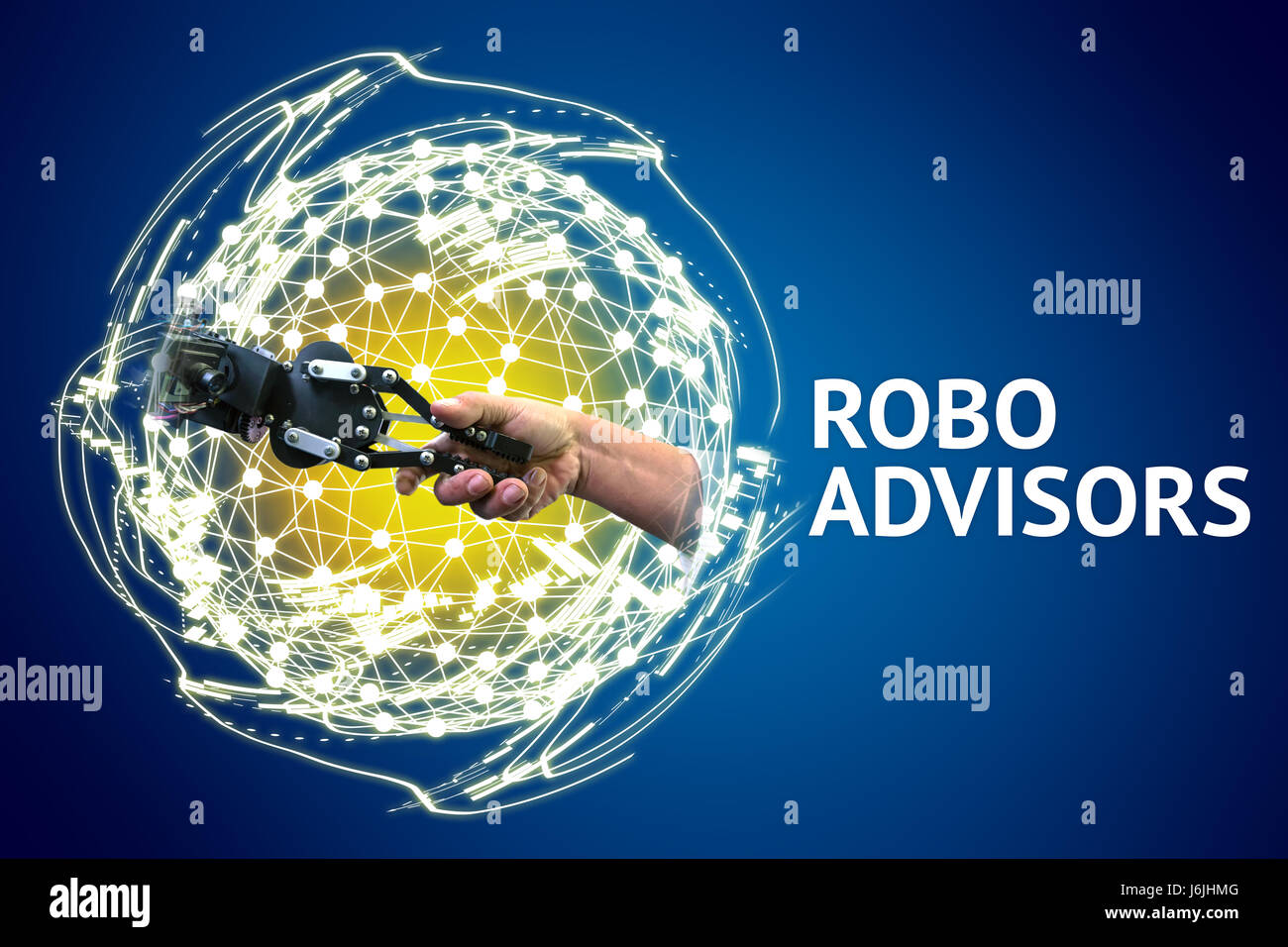 Robo advisors and investing concept , Robot and human holding hands with handshake , world wireframe symbol , text Stock Photo