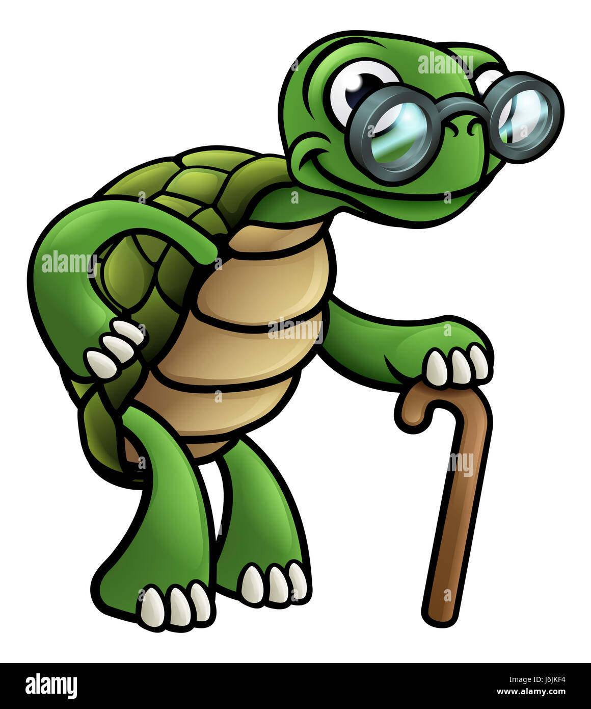 An elderly senior tortoise cartoon character with