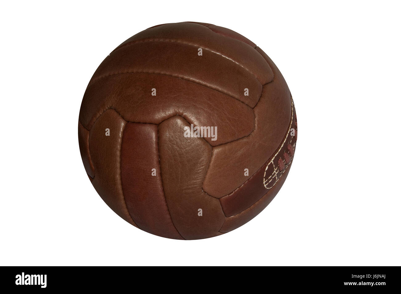 ball classical old ball brown brownish brunette leather classical retro old - Stock Image