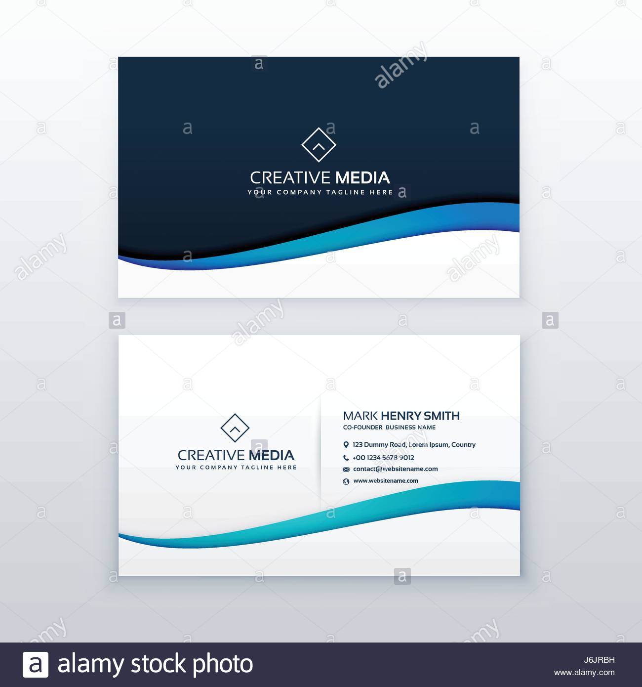 clean blue wave business card design template stock vector