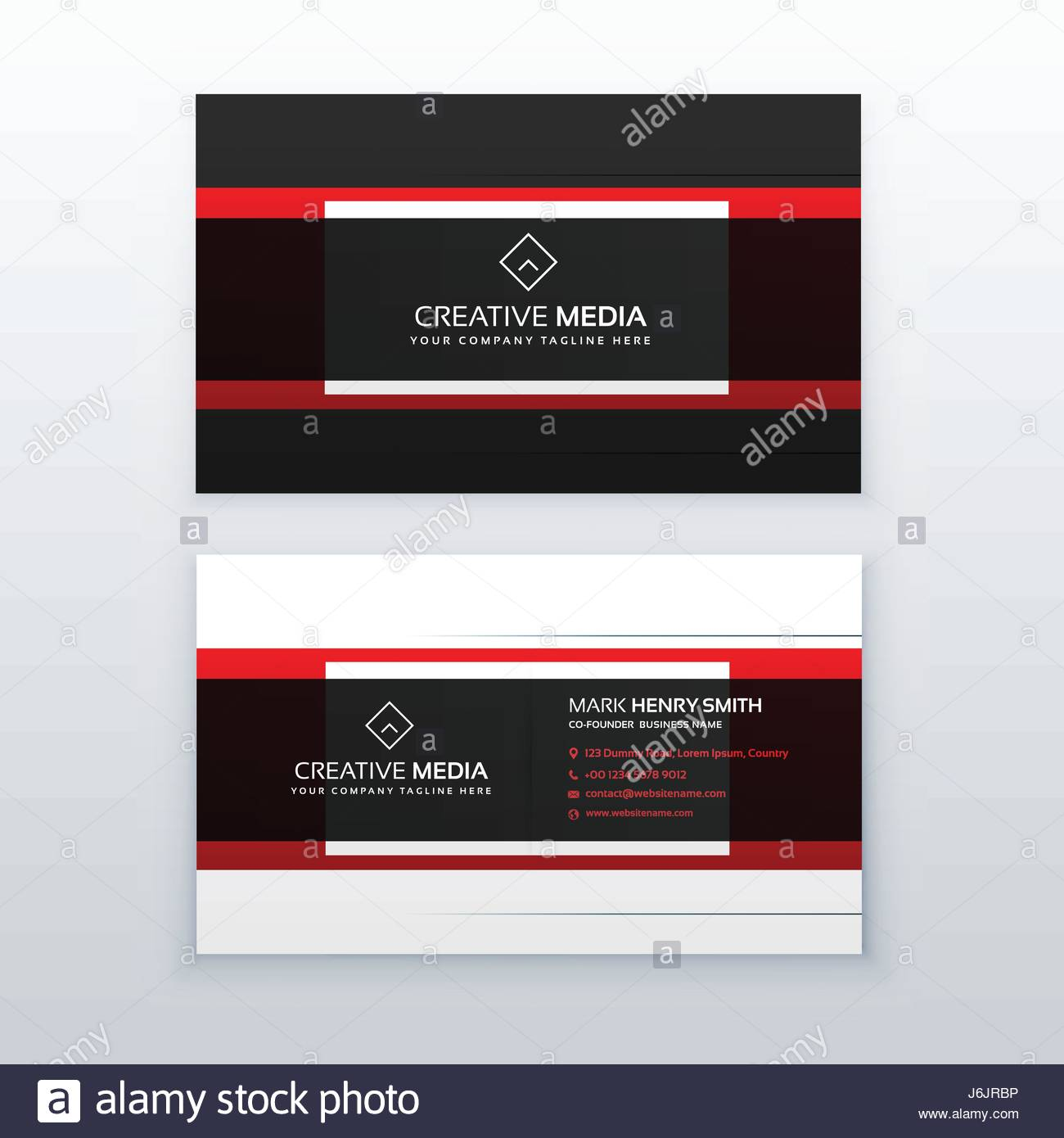 professional red and black business card design vector Stock Vector ...