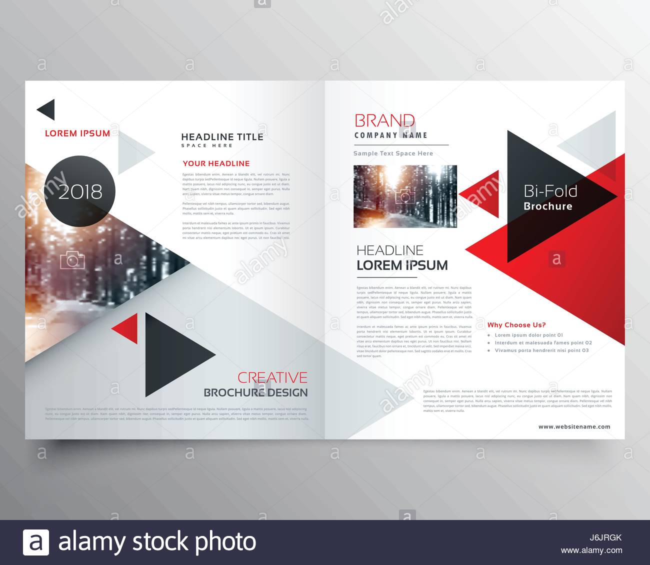 business bifold brochure or magazine cover design template with