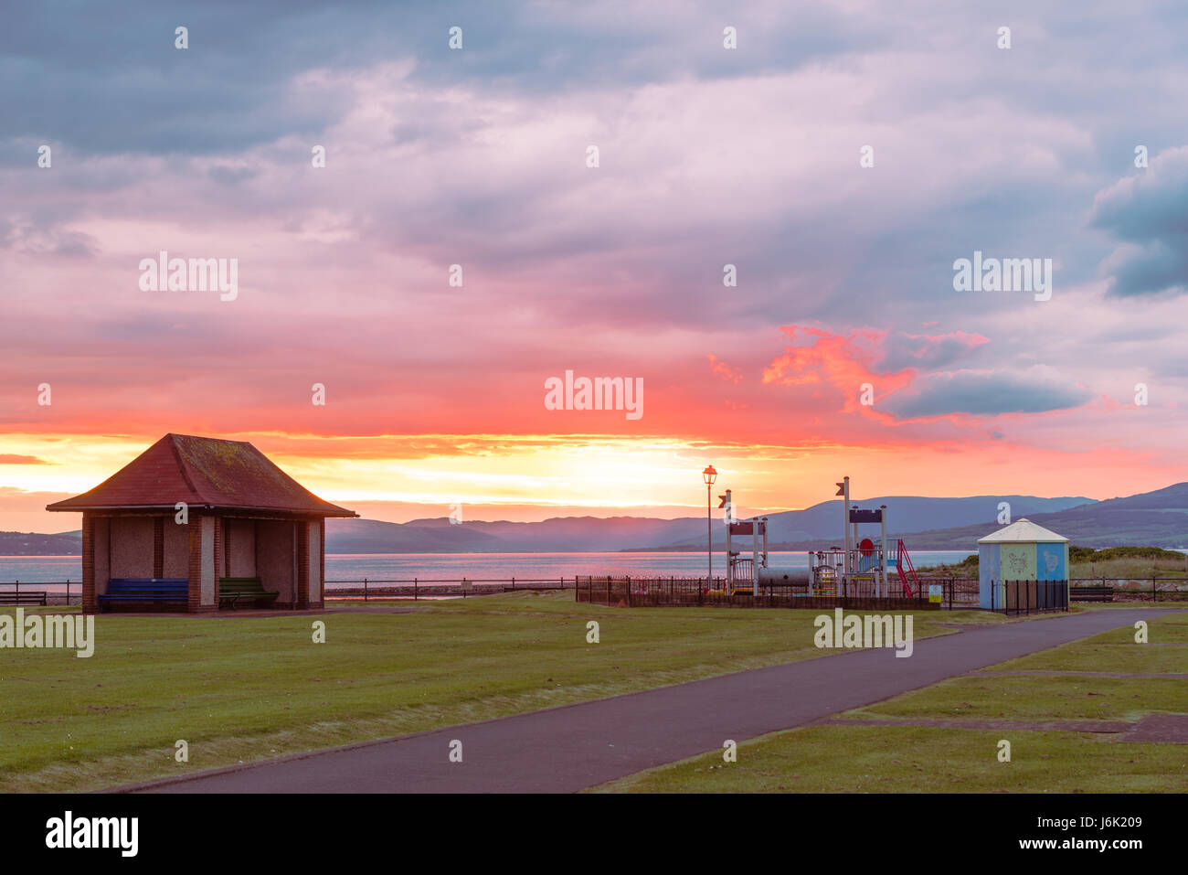 Sunset at Playpark at Aubery Cres largs. Situated in the North End of the Town. - Stock Image