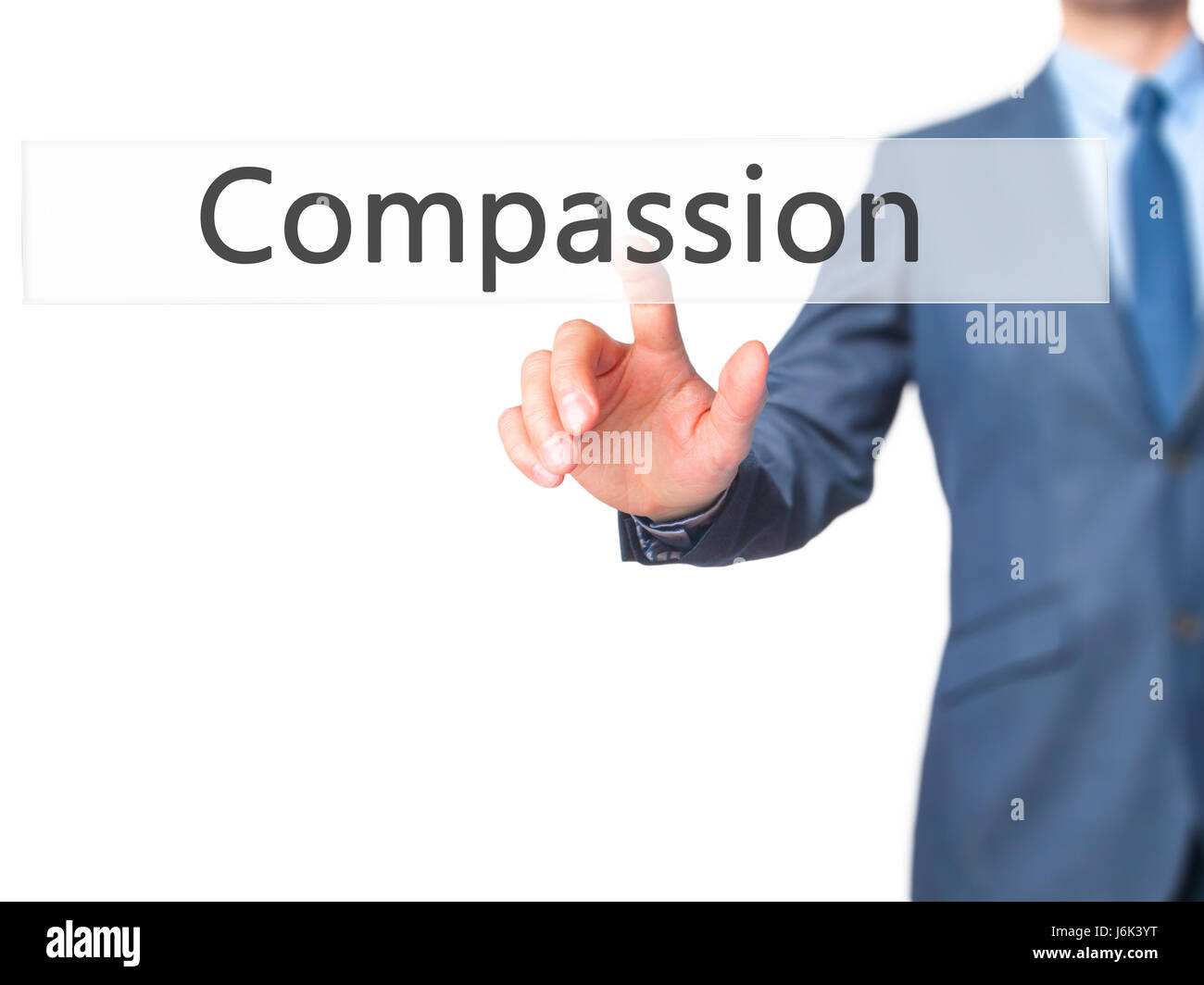 Compassion - Businessman click on virtual touchscreen. Business and IT concept. Stock Photo Stock Photo