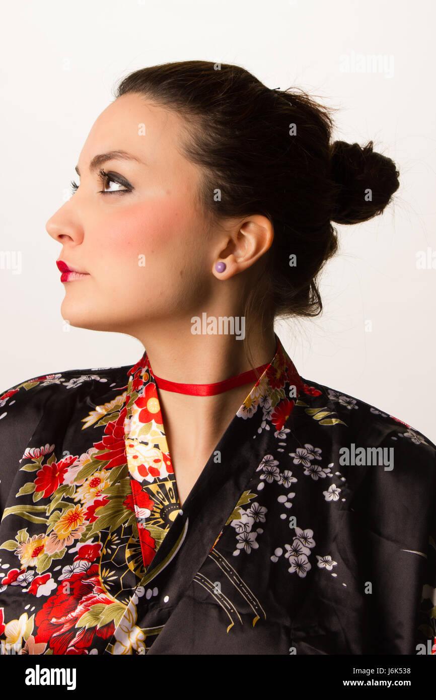 portrait of a girl with kimono - Stock Image